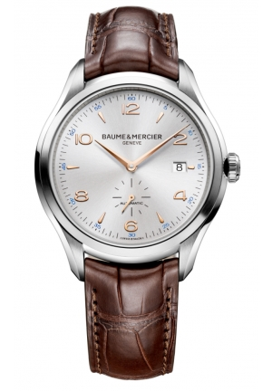 BAUME & MERCIER Clifton Silver Dial Stainless Steel Brown Leather Mens Watch 41mm