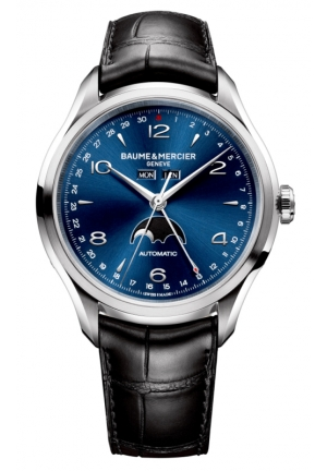 BAUME & MERCIER Clifton Blue Dial Moonphase Black Alligator Mens Watc, 43mm