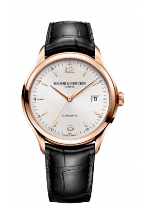 BAUME & MERCIER Clifton Silver Dial 18kt Rose Gold Black Alligator Leather Mens Watch 39mm