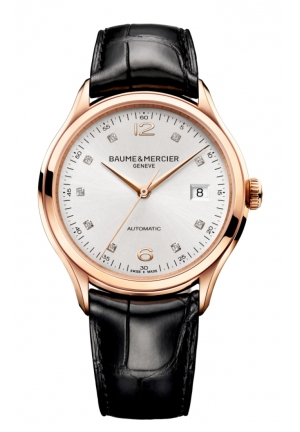 BAUME & MERCIER Clifton Silver Diamond Dial 18kt Rose Gold Black Alligator Leather Mens Watch 39mm