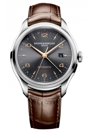 BAUME & MERCIER Clifton Grey Dial Brown Alligator Leather Mens Watch 43MM