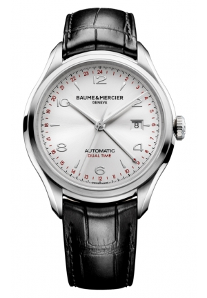 BAUME & MERCIER Clifton Dual Time Silver Dial Black Alligator Leather Mens Watch 43MM