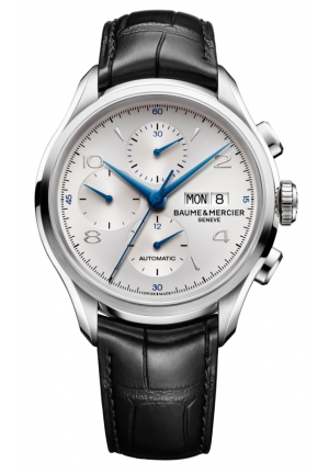 BAUME & MERCIER Clifton Automatic Chronograph Silver Dial Mens Watch 43MM