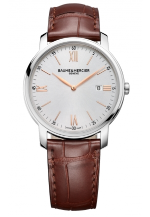 BAUME & MERCIER Silver Dial Brown Leather Strap Mens Watch 42MM