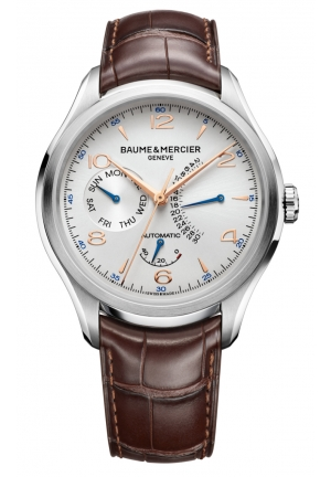 BAUME & MERCIER Clifton Silver Dial Brown Leather Mens Watch 43mm
