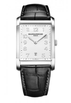 BAUME & MERCIER Silver Dial Black Leather Mens Watch 42.6 mm x 29.2 mm
