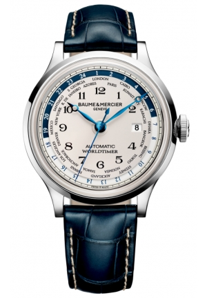 BAUME & MERCIER Capeland Worldtimer Silver Dial Blue Leather Mens Watch 44MM