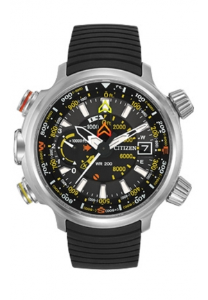 Citizen Men's Altichron Eco-Drive Titanium Black Rubber Strap Watch