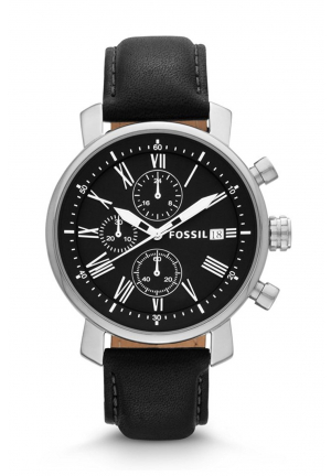 Fossil  Men's Black Leather Strap Black Dial Chronograph