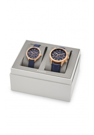 HIS CHRONOGRAPH AND HER MULTIFUNCTION NAVY LEATHER WATCH GIFT SET