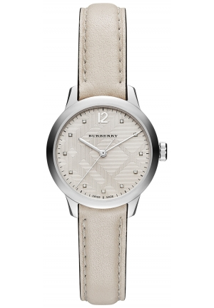 BURBERRY Swiss Diamond Accent White Leather Strap Watch 32mm