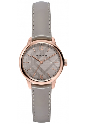 THE CLASSIC ROUND GRAY LEATHER STRAP TIMEPIECE 32MM