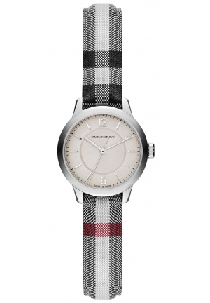 BURBERRY Swiss Stone Check Fabric Strap Watch 26mm