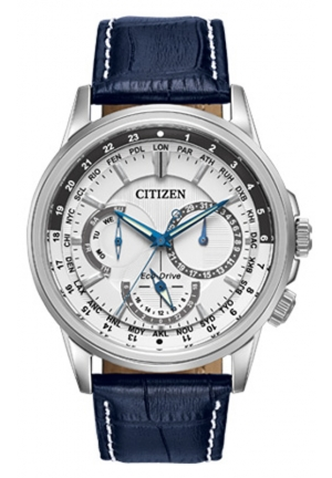 Citizen Men's Calendrier Stainless Steel Watch With Blue Leather Band