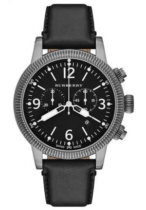 BURBERRY Men's Swiss Chronograph Black Leather Strap 46mm