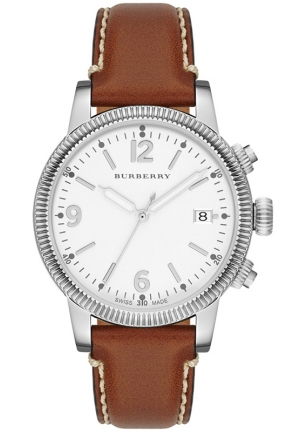 BURBERRY Women's Swiss Smooth Tan Leather Strap 38mm