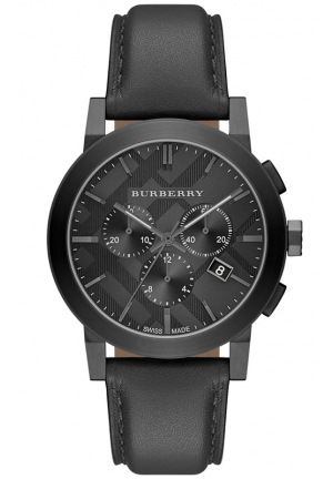 BURBERRY Men's Swiss Chronograph Black Leather Strap Watch 42mm