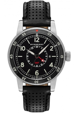Men's Swiss GMT Black Leather Strap Watch 42mm