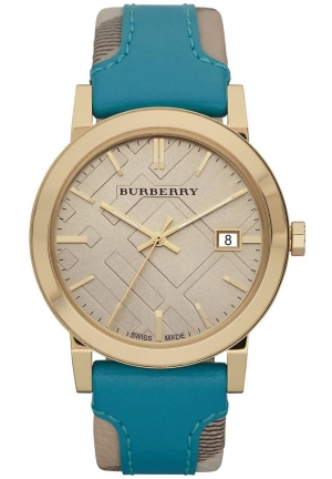 BURBERRY Check Authentic Turquoise Leather Watch 38mm