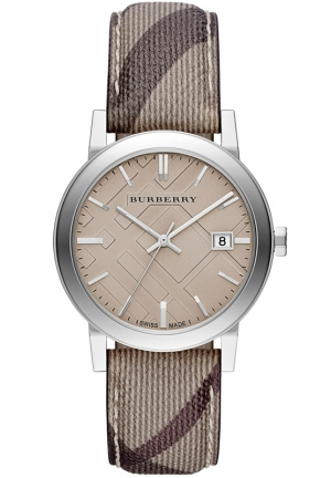 BURBERRY Women's Swiss Smoke Check Fabric Strap 38mm