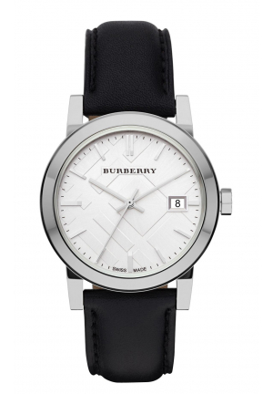 THE CITY SILVER DIAL BLACK LEATHER LADIES WATCH 35MM
