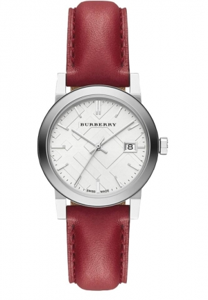 White Silver Dial Red Leather Ladies Watch 34mm
