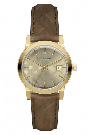 THE CITY LEATHER STRAP GOLD-TONE DIAL