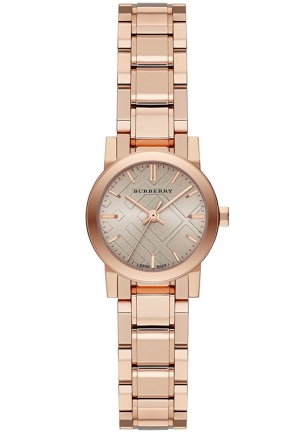 BURBERRY Unisex Swiss The City Rose Gold-Tone Stainless Steel Bracelet Watch 26mm
