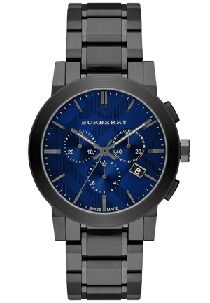 BURBERRY Men's Swiss Chronograph Gray Ion-Plated Stainless Steel Bracelet Watch 42mm