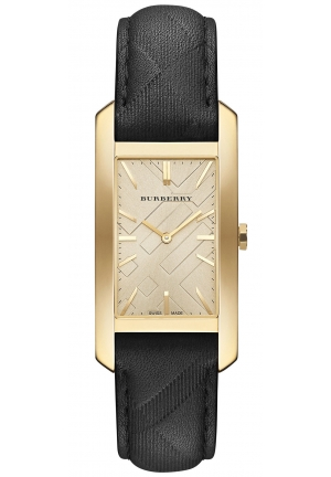 BURBERRY Swiss Black Leather Strap Watch , 25mm