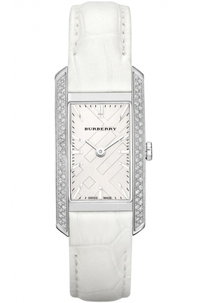 BURBERRY Women's London Diamond White Alligator Silver Dial Watch 20mm
