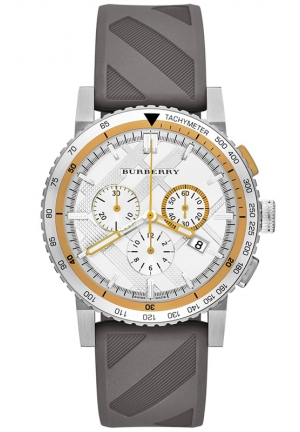 BURBERRY Unisex Swiss Chronograph The New City Sport Gray Check Texture Rubber Strap Watch 42mm