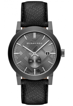 BURBERRY Men's Swiss The City Gray Beat Check Strap Watch 42mm