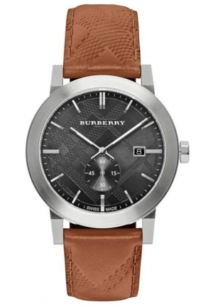 Burberry Men's Swiss Chronograph The City Brown Leather Trap