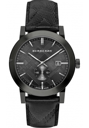 BURBERRY WATCH SWISS MADE BLACK LEATHER 42MM