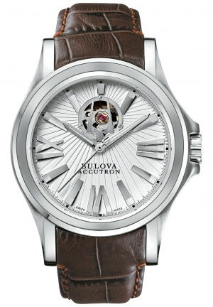 BULOVA ACCUTRON Men's Swiss Automatic Brown Leather Strap 40mm