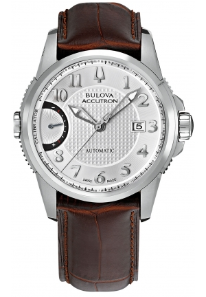 BULOVA ACCUTRON Men's Swiss Automatic Brown Leather Strap 43mm 63B160