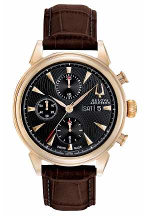 BULOVA ACCUTRON Men's Swiss Automatic Chronograph Brown Alligator Leather Strap 42mm