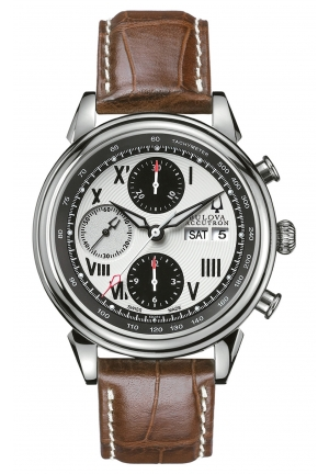 BULOVA ACCUTRON Men's Swiss Chronograph Automatic Brown Leather Strap 42mm