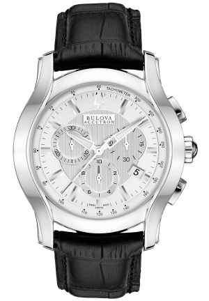 BULOVA ACCUTRON Men's Swiss Chronograph Black Leather Strap 42mm 63B138
