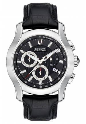 BULOVA ACCUTRON Men's Swiss Chronograph Black Leather Strap 43mm