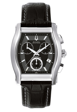 BULOVA ACCUTRON Men's Swiss Chronograph Black Leather Strap