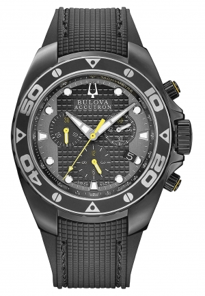 BULOVA ACCUTRON Men's Swiss Chronograph Black Rubber Strap 42mm