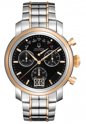 BULOVA ACCUTRON Men's Swiss Chronograph Two-Tone Stainless Steel Bracelet 34mm