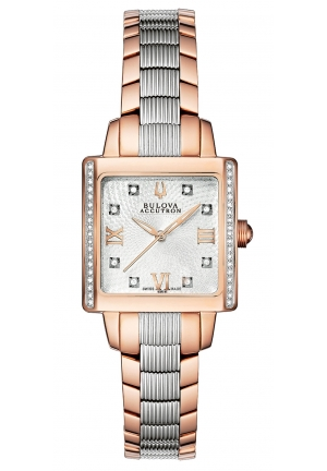 BULOVA ACCUTRON Women's Swiss Two Tone Stainless Steel Bracelet 27mm