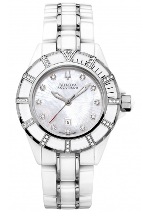 BULOVA ACCUTRON Women's White Ceramic and Stainless Steel Bracelet