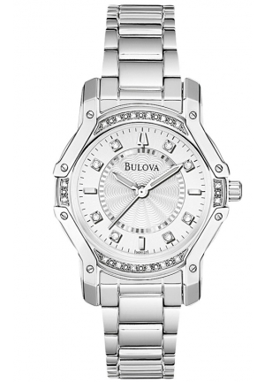 BULOVA Bulova Women's Silver Case Diamond White Dial Watch