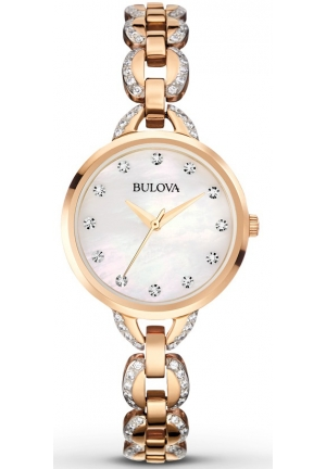 BULOVA Facets Crystal Accent Rose Gold-Tone Stainless  Steel Bracelet Watch 28mm 98L207