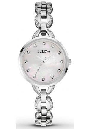 BULOVA Facets Crystal Accent Stainless Steel Bracelet Watch 28mm 96L203