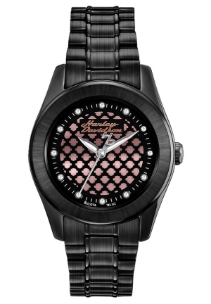 BULOVA Harley-Davidson Bulova Women's Black and Rose gold Watch 32mm